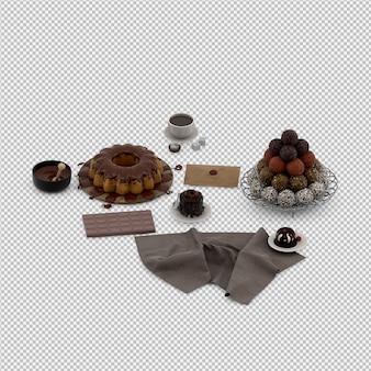 Il dessert 3d isolato rende