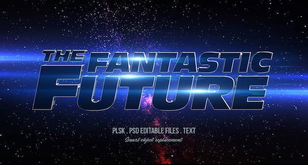 Il fantastico futuro mockup effetto testo in stile 3d
