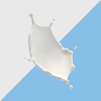 Il latte spruzza isolato su fondo