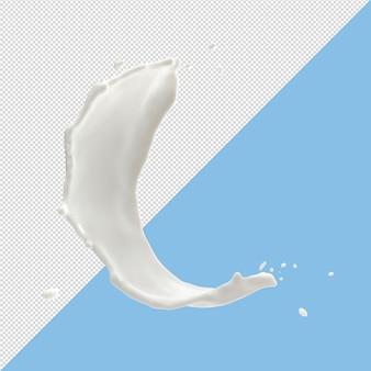 Il latte spruzza le gocce 3d rendono