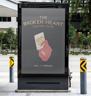 Il mockup dell'insegna del cuore rotto