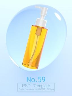 Il modello 3d del fondo della bolla dell'acqua e del prodotto rende