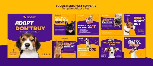 Il modello con adotta un post sui social media per animali domestici