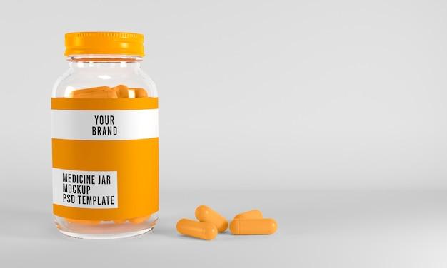 Il modello del barattolo e delle capsule della medicina su superficie bianca 3d rende