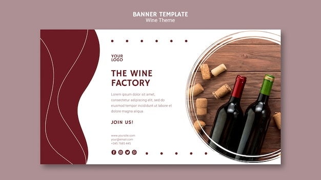 Il modello di banner di fabbrica di vino