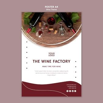 Il modello di poster della fabbrica di vino