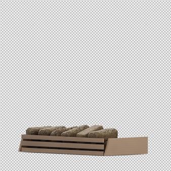 Il pane isometrico 3d isolato rende