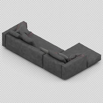Il rendering isometrico 3d del sofà rende