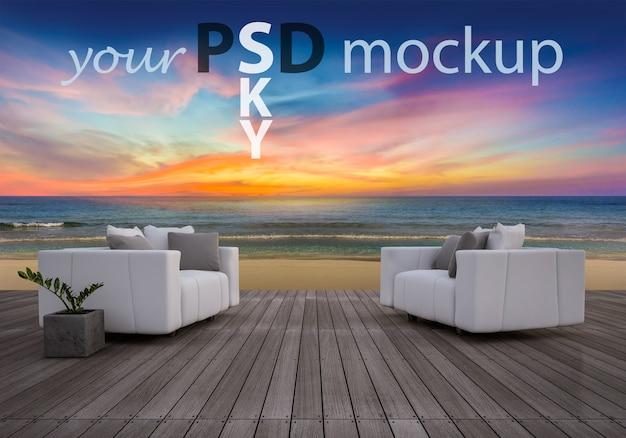 Il sofà 3d ha impostato sul sundeck nel tempo del tramonto