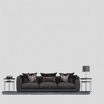 Il sofà isometrico 3d isolato rende