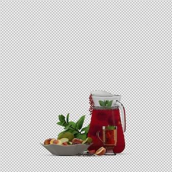 Il succo rosso con i frutti 3d rende