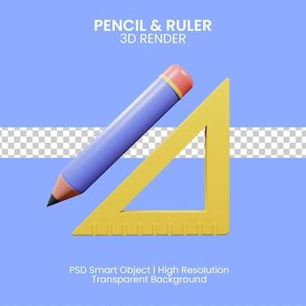 Illsutration 3d de lápiz y regla con fondo azul.