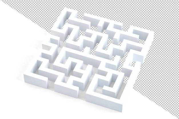 Illustrazione 3d labirinto bianco 3d isolato