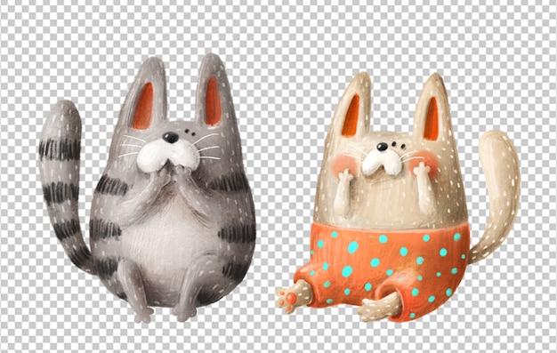 Illustrazione disegnata a mano di gatti svegli