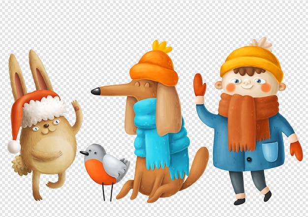Illustrazioni di ragazzo, cane e coniglio