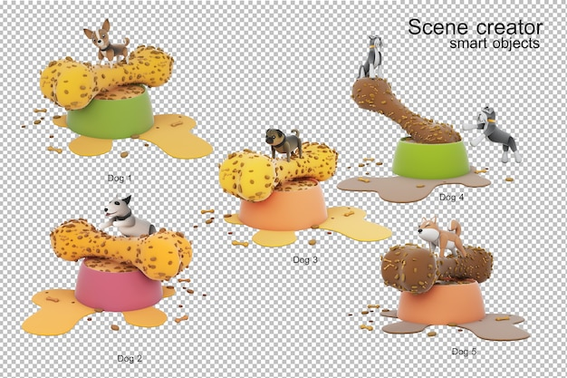 Ilustración 3d de actividad de perro