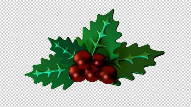 Ilustración 3d aislado de decoración de navidad