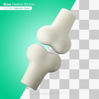 Ilustración 3d de articulación ósea médica icono 3d color editable aislado