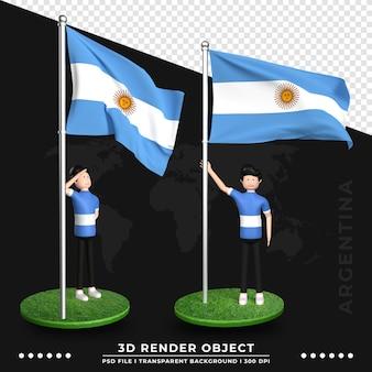 Ilustración 3d de la bandera argentina con personaje de dibujos animados de gente linda. representación 3d.