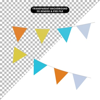 Ilustración 3d bandera de carnaval de objeto simple