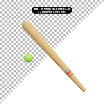 Ilustración 3d de béisbol de deporte de objeto simple