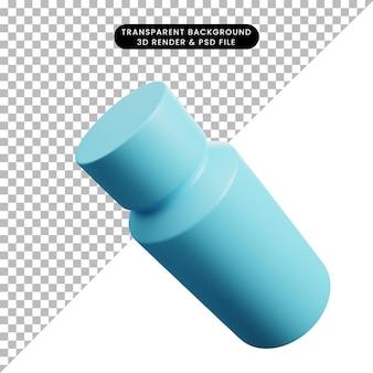 Ilustración 3d de botella de hierbas de utensilios de cocina