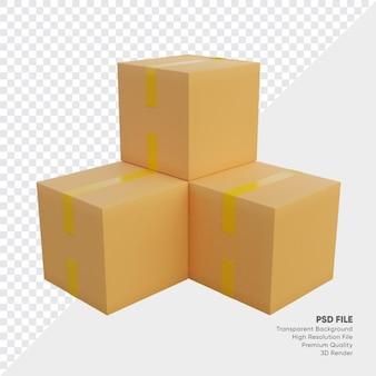 Ilustración 3d de cajas
