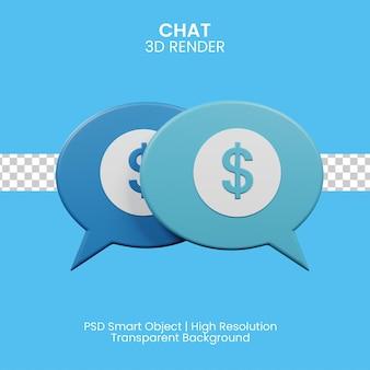 Ilustración 3d del concepto de chat en las redes sociales