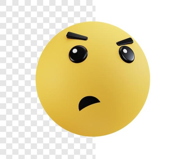 Ilustración 3d concepto emoji con expresión enojada