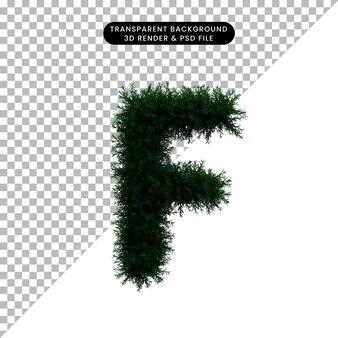 Ilustración 3d del concepto de hoja de corona alfabeto f