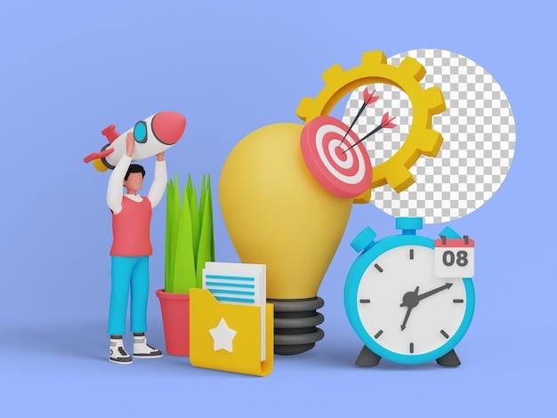 Ilustración 3d del concepto de idea de inicio para la página de destino