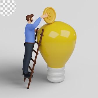 Ilustración 3d. concepto de idea de negocio