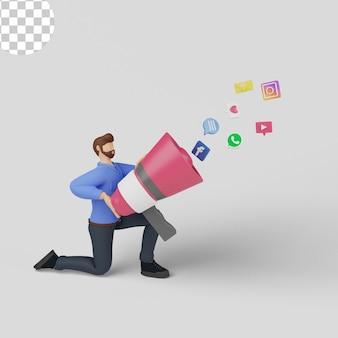 Ilustración 3d. concepto de marketing en redes sociales