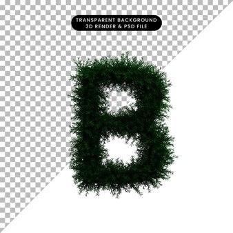 Ilustración 3d de corona de hoja verde concepto alfabeto b