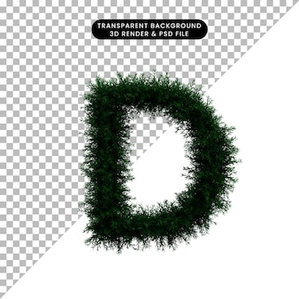 Ilustración 3d de corona de hoja verde concepto alfabeto d