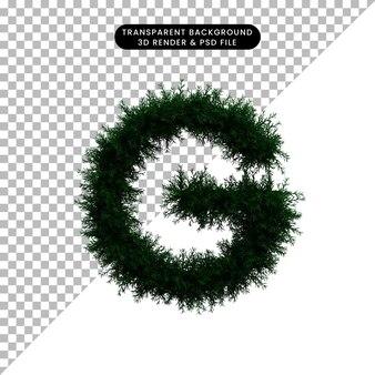 Ilustración 3d de corona de hoja verde concepto alfabeto g