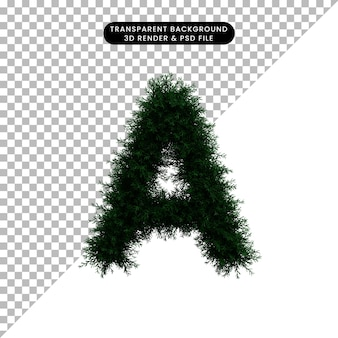 Ilustración 3d de corona de hoja verde concepto alfabeto a