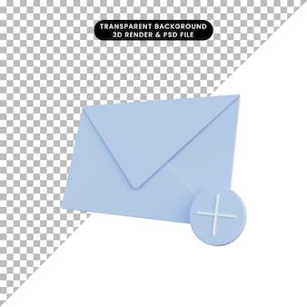 Ilustración 3d correo de objeto simple