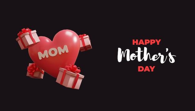 Ilustración 3d del día de la madre feliz con texto de globo y transparente
