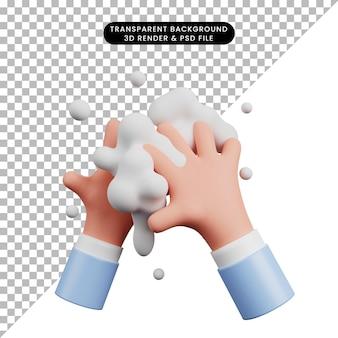 Ilustración 3d del día mundial del lavado de manos con mano 3d