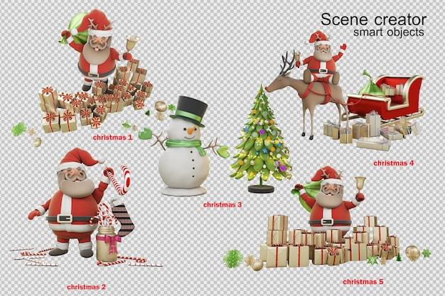 Ilustración 3d día de navidad con santa claus