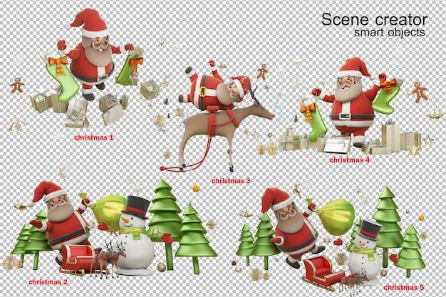 Ilustración 3d el día de navidad con santa claus