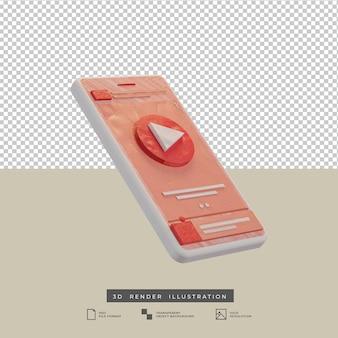 Ilustración 3d de diseño de aplicación de música de tema rosa estilo arcilla aislado