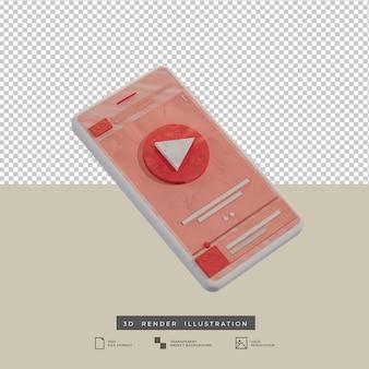 Ilustración 3d del diseño de la aplicación de la música del tema del rosa del estilo de la arcilla