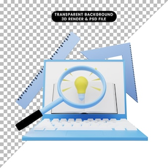 Ilustración 3d de educación en línea