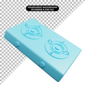 Ilustración 3d de estufa de gas de utensilios de cocina