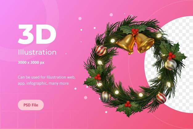 Ilustración 3d, feliz navidad, adviento circular, con campana, flor de pascua y lámpara.