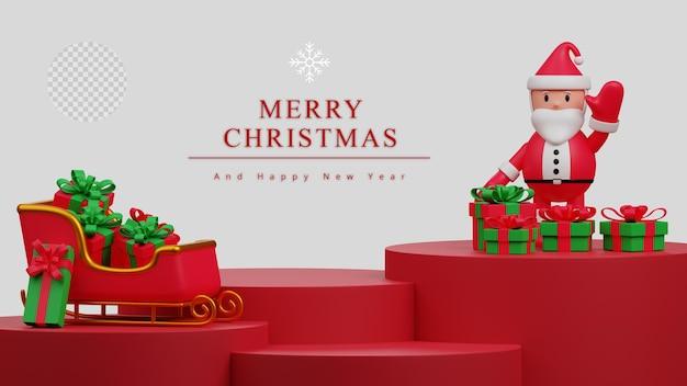 Ilustración 3d fondo de escena de exhibición de podio de producto en blanco concepto de feliz navidad