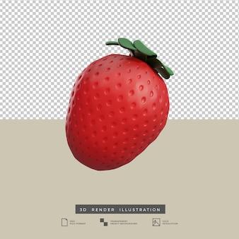Ilustración 3d de fruta fresa aislada