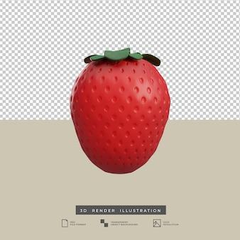 Ilustración 3d de fruta de fresa